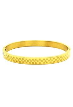 Checkered Gold Clip Bangle