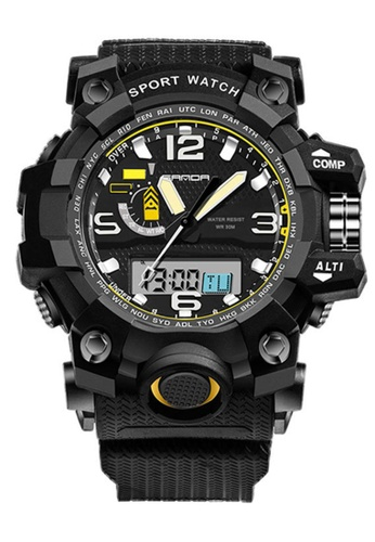 SANDA black SANDA 732 Waterproof Outdoor Multifunctional Sports Men's Quality Shockproof Digital Watch (Full Black) SA708AC0RX22MY_1