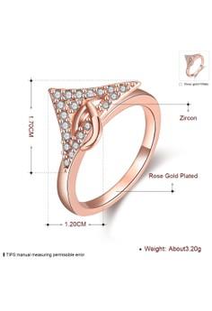 Treasure by B&D R001-A-7 European Style Geometric Zircon Inlay Ring