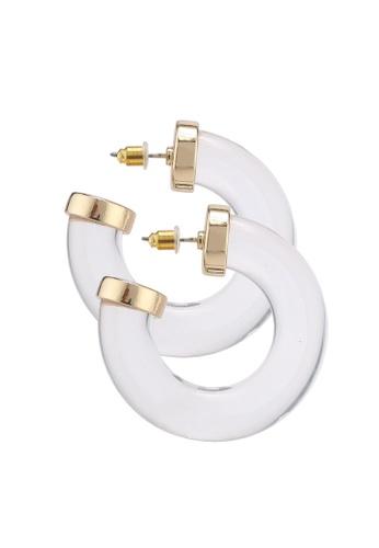 Mango 白色 透明圓圈耳環 392A7AC6D09153GS_1