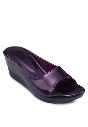 漆皮厚esprit香港門市底楔形涼鞋, 女鞋, 楔形鞋