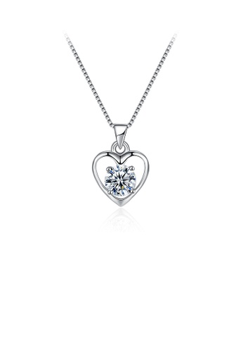 Glamorousky white 925 Sterling Silver Sweet Heart Pendant with Cubic Zircon and Necklace 2A437AC7BDDFF1GS_1