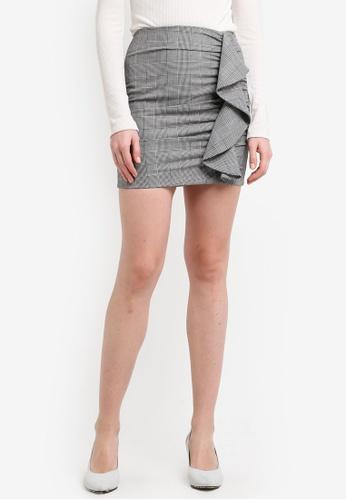 Mango black and multi Ruffled Checked Skirt MA193AA0ROQJMY_1