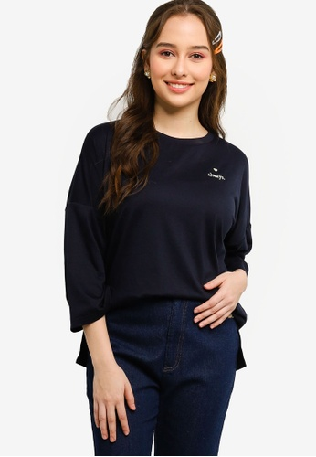 Lubna navy Message T-Shirt B6746AA22E9B8CGS_1