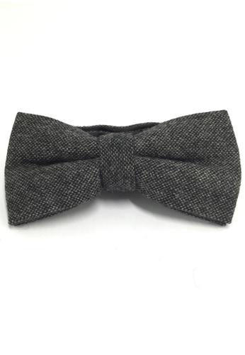 Splice Cufflinks Dolly Series Gunmetal Grey Wool Pre-tied Bow Tie SP744AC34QOJSG_1