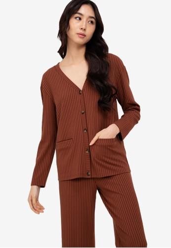 ZALORA BASICS brown Lounge Rib Knit Cardigan 8D56FAA86A1B3FGS_1
