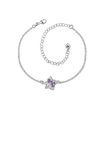 Glamorousky purple Fashion Simple Star Purple Cubic Zircon Anklet 699F4AC6D2ED58GS_1