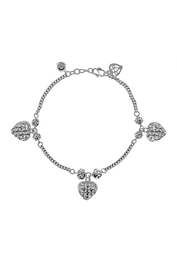 Elfi silver Elfi 925 Sterling Silver Triple Heart Charm Ladies Bracelet SB-57M 2A49DACAFB361CGS_1