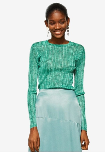 Mango green Metallic Finish Sweater E6566AA1035753GS_1