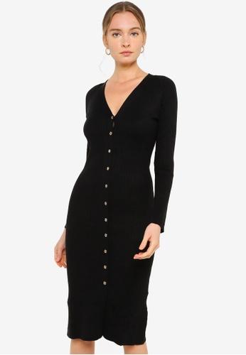 FORCAST black Rivera Button Up Knit Dress E45C0AAC2B635DGS_1