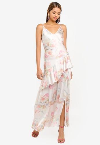 9d609f9e4e8e Miss Selfridge white Ivory Floral Print Bias Frill Maxi Dress  AC03FAA7A3DBEDGS_1