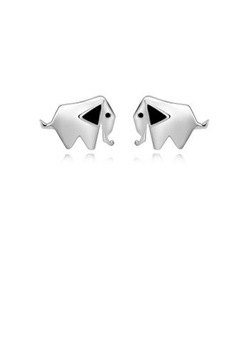 Glamorousky silver 925 Sterling Silver Simple Cute Elephant Stud Earrings AEA26ACF79A3AEGS_1