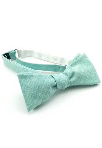 Caveman green Mint Textured Self-Tied Bowtie FEC87AC376FDEBGS_1