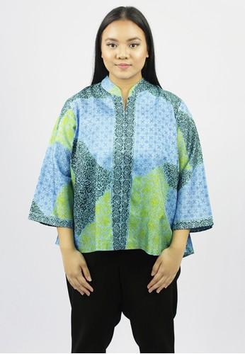 House of Kain green and blue Blouse Batik Viscose Jaubi 5BDDBAA553AAADGS_1