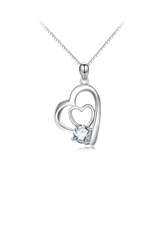Glamorousky white 925 Sterling Silver Simple Romantic Double Heart Pendant with Cubic Zirconia and Necklace B0E2CAC462479BGS_1