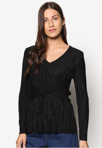 Collection 褶藝繫帶長袖T-shirt、 服飾、 上衣ZALORACollection褶藝繫帶長袖上衣最新折價
