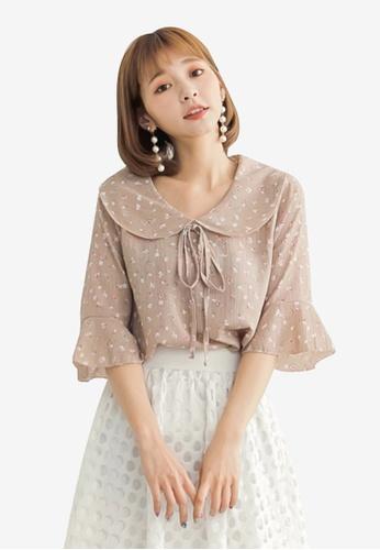 Tokichoi brown Floral Tie Neck Blouse C0CD8AAEF0D1BFGS_1