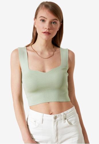 Trendyol green Crop Knitted Top 2B821AAF7BF96EGS_1