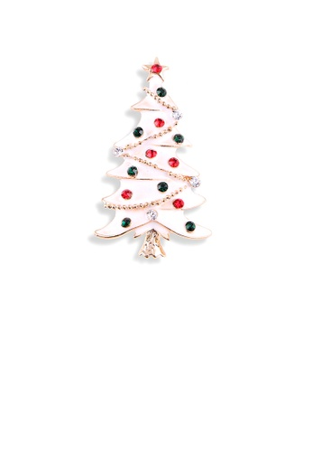 Glamorousky red Fashion Simple Plated Gold Enamel Christmas Tree Brooch with Cubic Zirconia 4F03BACDDEA7CAGS_1