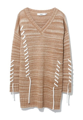 b+ab beige Intarsia striped lace-up sweater dress 8EDEFAA290A863GS_1