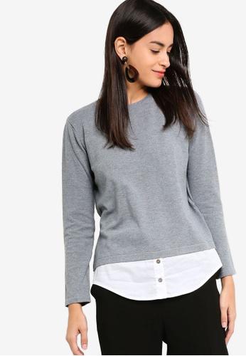 ZALORA grey 2-In-1 Shirt Jumper DDDD5AACCED983GS_1