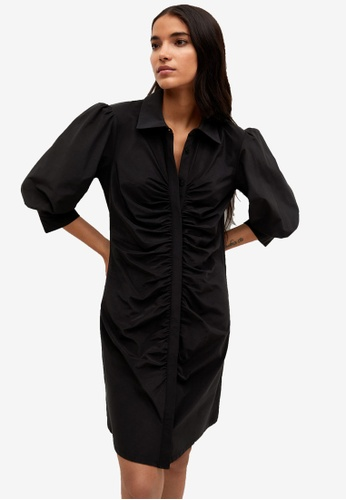 Mango black Ruched Detail Dress CE968AA58EB02AGS_1