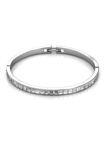 Her Jewellery silver Swarovski® Crystals - Chic Bangle (White Gold) (18K White Gold Plated) Her Jewellery HE581AC0RCBMMY_1