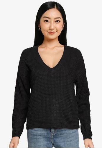 JACQUELINE DE YONG black Alice V-Neck Knit Pullover 9783DAA5CA1B3CGS_1