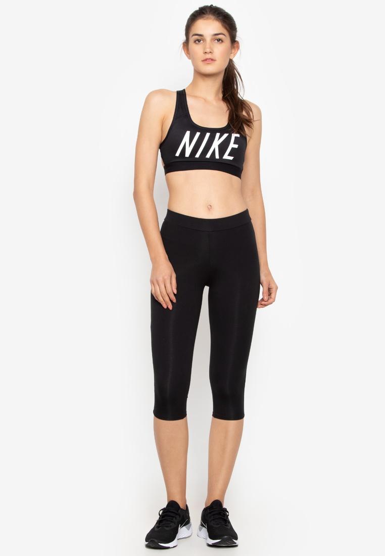 Nike Black Black Sports Medium Nike Bra Support White Swoosh Logo As rxUz8r