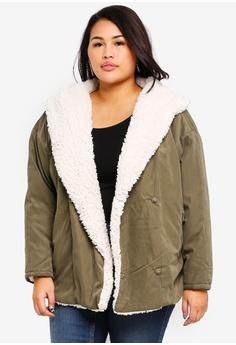 6487bb0196a Junarose green Plus Size Curly Parka Jacket B2A38AA90E4218GS 1