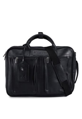 Miajee's black Ambrogio 21 - Genuine Leather Handcrafted Convertible Laptop Briefcase / Backpack - Black 698CBAC4CDE1D4GS_1