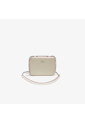 91d85ca4412 Lacoste beige Women's Chantaco Chain Bicolour Piqué Leather Shoulder  Bag-NF2744AC 55A6BAC2AF4E06GS_1