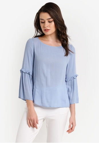 Zalia blue Frill Sleeve Top 31866AA8A2E7B5GS_1