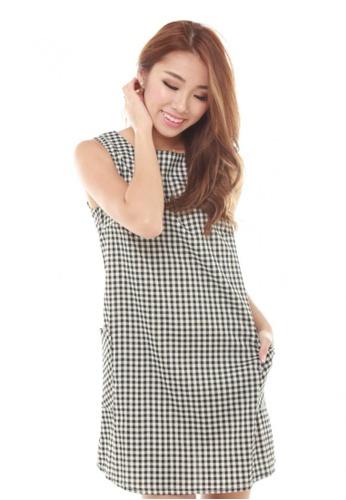 Sophialuv multi Paska Grid Shift Dress in Small Checks DC635AA0AB7BADGS_1