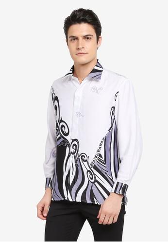 Gene Martino white Batik Shirt 4C51CAA6BAC8C2GS_1