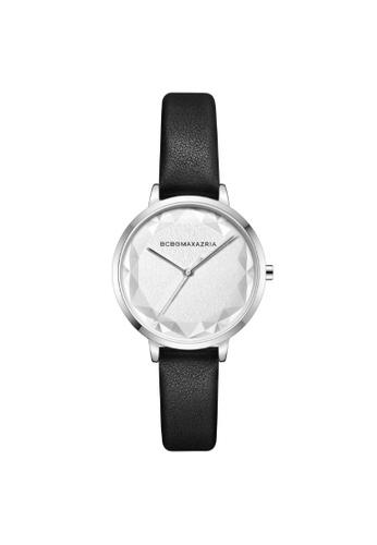 BCBG black BCBGMAXAZRIA BG51136006 Silver and Black Leather Watch 3A993AC6962C0DGS_1
