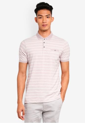 Burton Menswear London 粉紅色 短袖條紋POLO衫 52C7EAA1DCBBE8GS_1