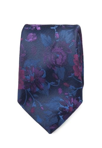 Burton Menswear London navy Navy Rose Tie And Pocket Square Set BU964AC0SD1VMY_1