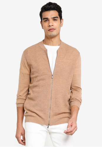 Sacoor Brothers beige Cardigan in 100% extra fine merino wool 1F681AA1AF10CBGS_1