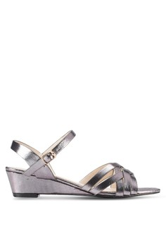 【ZALORA】 Oivia 交叉多帶低跟楔型跟涼鞋