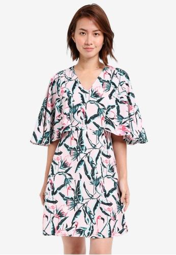 ZALORA multi Ruffle Front Waterfall Dress D198AAA8CC33DBGS_1