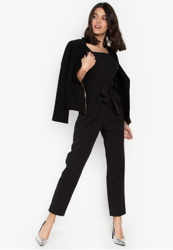 76510c2d8b8 Shop Dorothy Perkins Black Square Neck Belted Jumpsuit Online on ZALORA  Philippines