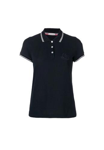 Moncler blue Moncler Logo Polo Tee in Blue A5336AA6927443GS_1