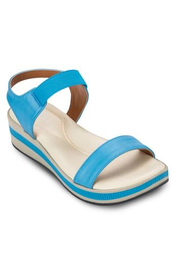 彈性繞踝撞色楔形涼鞋zalora 泳衣, 女鞋, 鞋