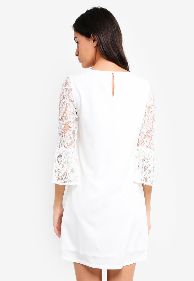 White Flare Lace ZALORA Sleeves Dress Ox1w67C