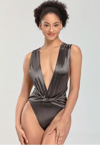 LYCKA black LWD7315-European Style Lady Swimsuit-Black 8CE59US5DF63CFGS_1