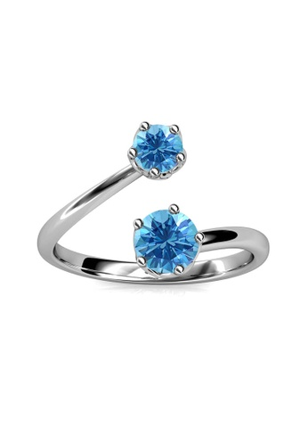 Her Jewellery blue Birth Stone Ring (March) - Made with premium grade crystals from Austria BCA2FAC239EA70GS_1