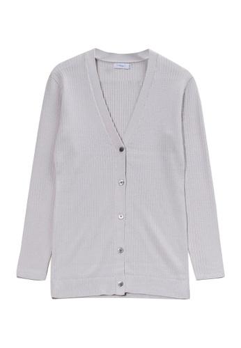 KLAPS grey Merino V-neck Cardigan 11699AA8988584GS_1
