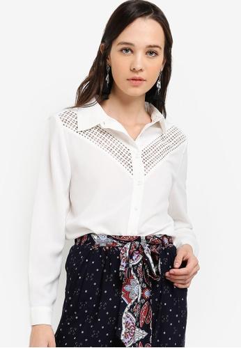 Something Borrowed white Lace Panel Oversized Shirt E76B0AA8B8EABFGS_1