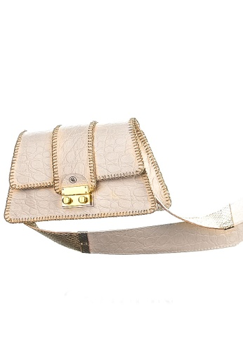 CSHEON white and gold Harper Small Bag in White Exotic Genuine Leather Crocskin with Strap Handcrafted by CSHEON 2254FAC5381866GS_1